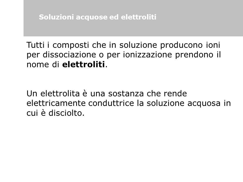 Soluzioni acquose ed elettroliti Tutti i composti che in soluzione producono ioni per dissociazione o per ionizzazione prendono il nome di elettroliti