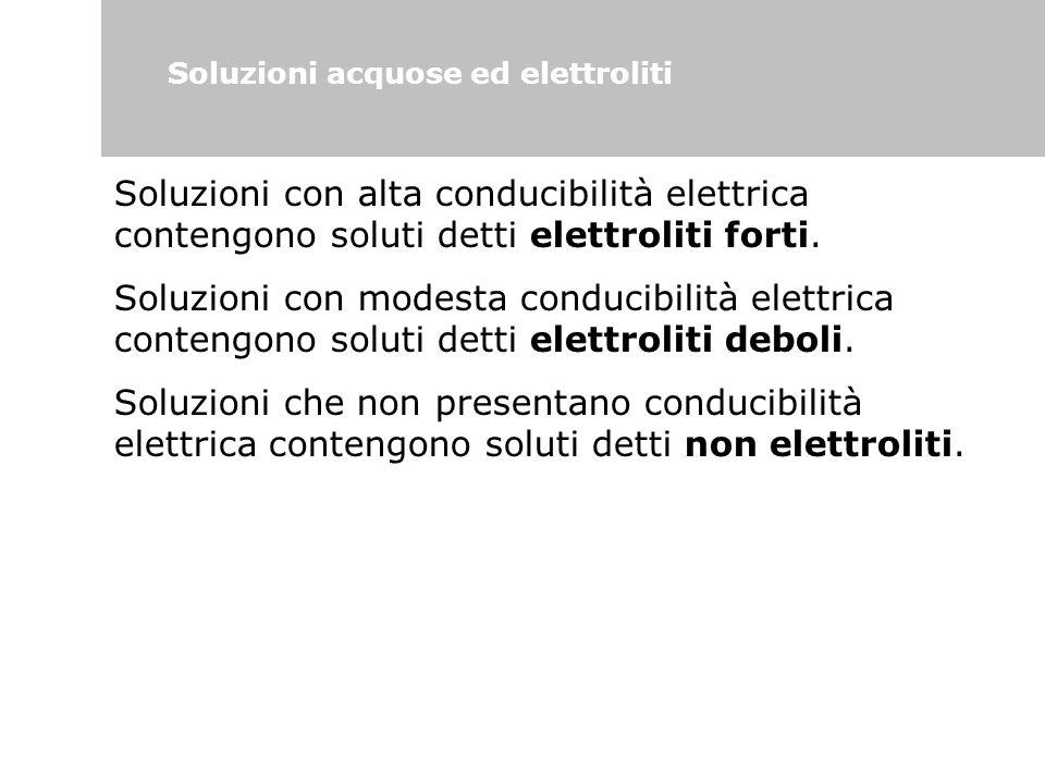 Soluzioni acquose ed elettroliti Soluzioni con alta conducibilità elettrica contengono soluti detti elettroliti forti. Soluzioni con modesta conducibi