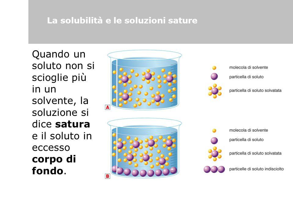La solubilità e le soluzioni sature Quando un soluto non si scioglie più in un solvente, la soluzione si dice satura e il soluto in eccesso corpo di f