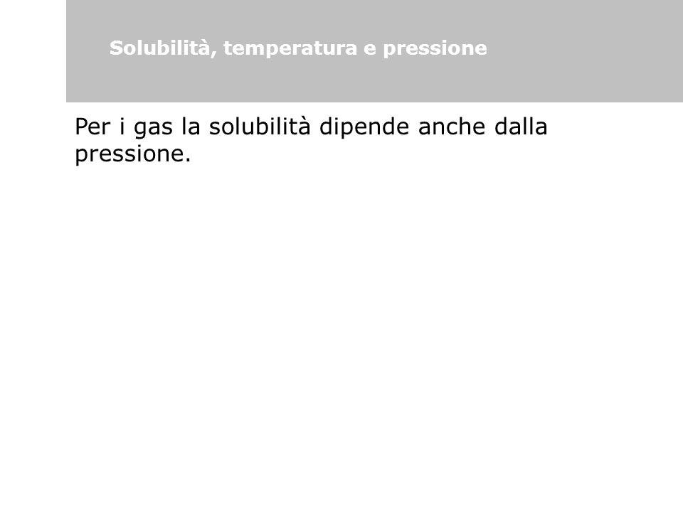 Per i gas la solubilità dipende anche dalla pressione.