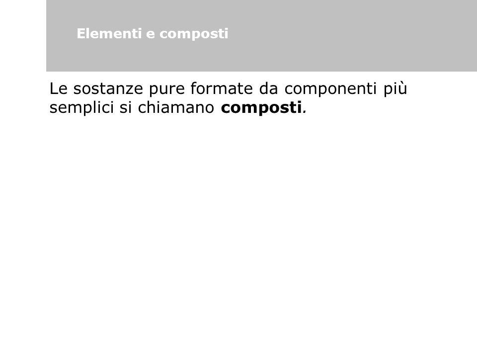 Elementi e composti Le sostanze pure formate da componenti più semplici si chiamano composti.