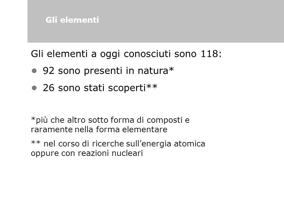 Gli elementi Gli elementi a oggi conosciuti sono 118: 92 sono presenti in natura* 26 sono stati scoperti** *più che altro sotto forma di composti e ra
