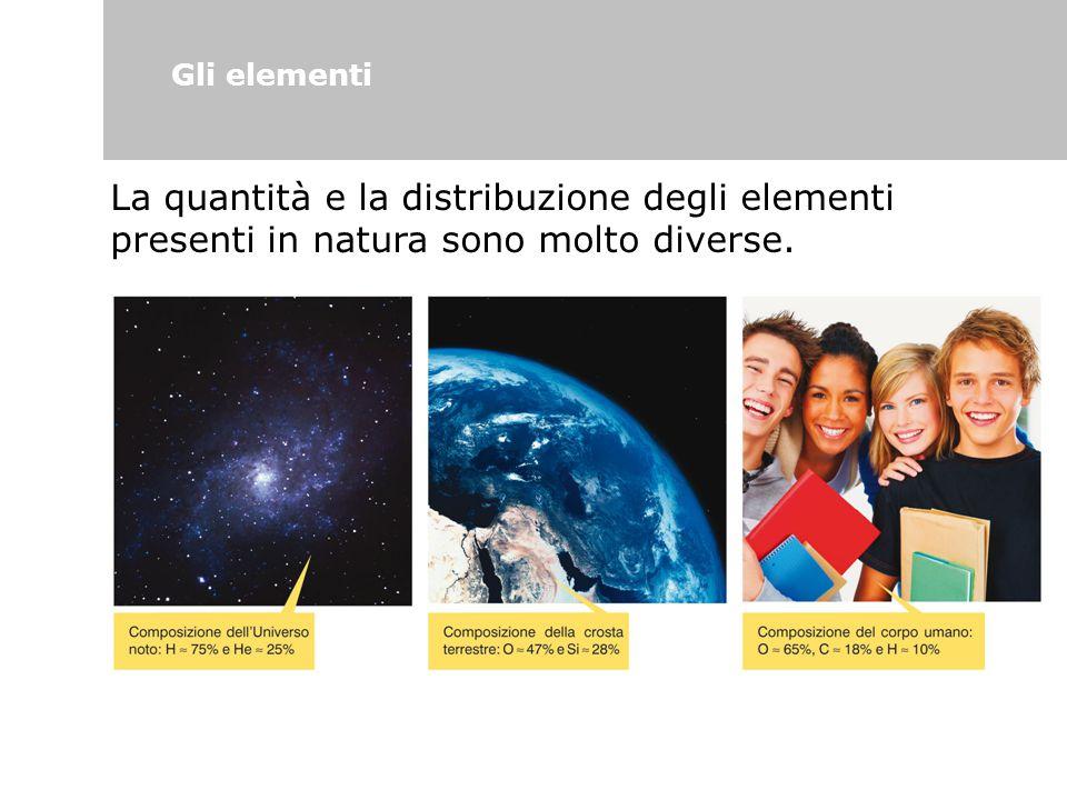 Gli elementi La quantità e la distribuzione degli elementi presenti in natura sono molto diverse.