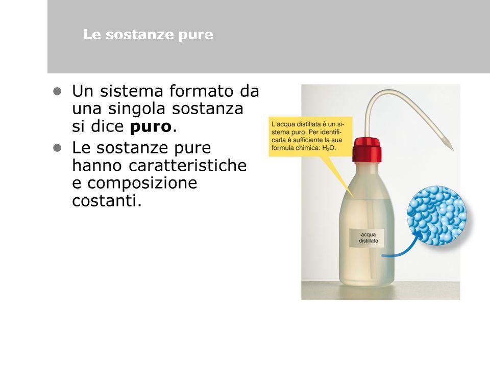 Un sistema formato da una singola sostanza si dice puro. Le sostanze pure hanno caratteristiche e composizione costanti. Le sostanze pure