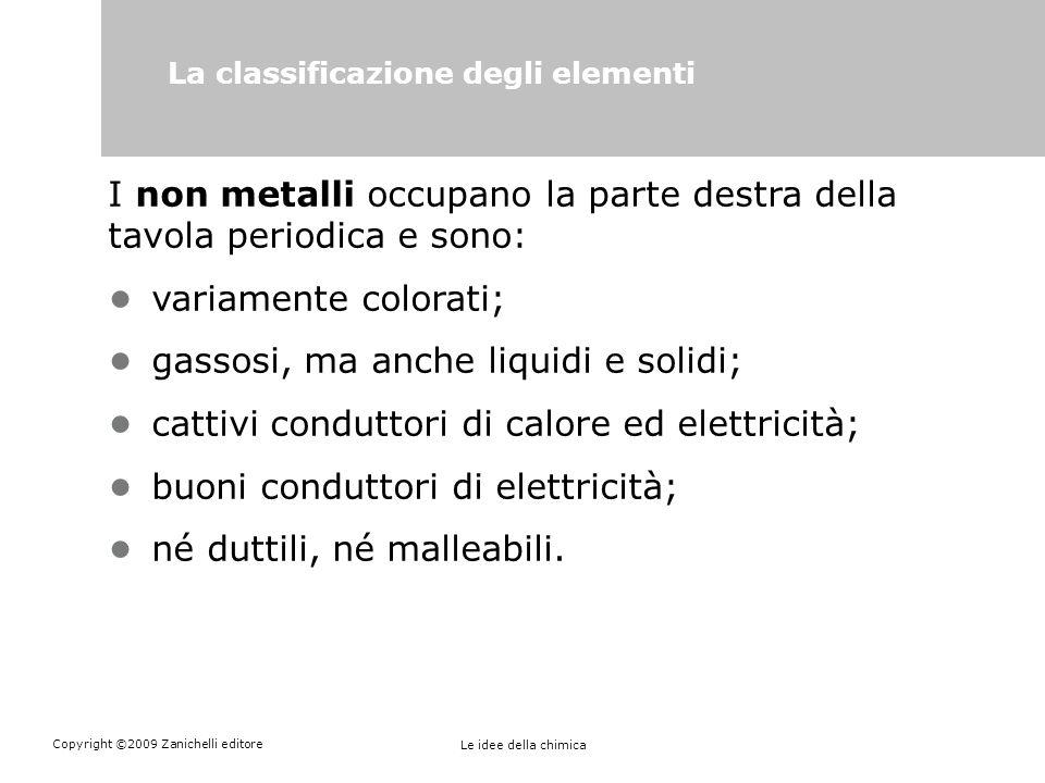 Copyright ©2009 Zanichelli editore Le idee della chimica La classificazione degli elementi I non metalli occupano la parte destra della tavola periodi
