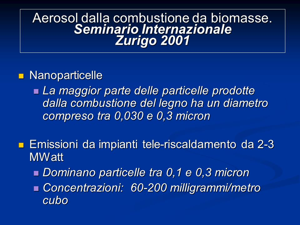 Aerosol dalla combustione da biomasse.