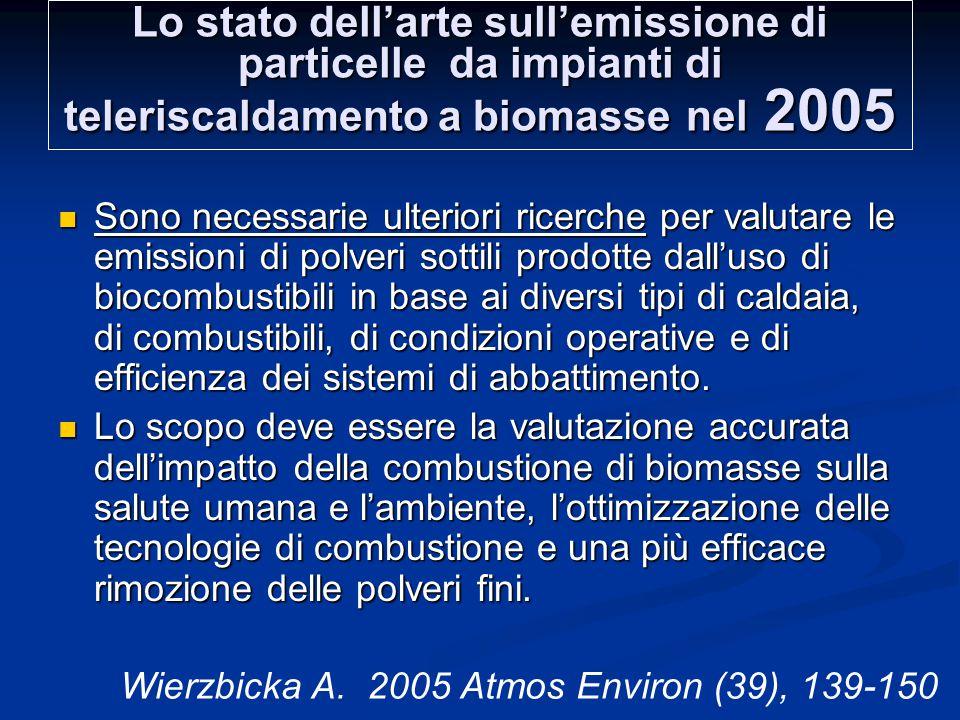 Lo stato dell'arte sull'emissione di particelle da impianti di teleriscaldamento a biomasse nel 2005 Sono necessarie ulteriori ricerche per valutare le emissioni di polveri sottili prodotte dall'uso di biocombustibili in base ai diversi tipi di caldaia, di combustibili, di condizioni operative e di efficienza dei sistemi di abbattimento.