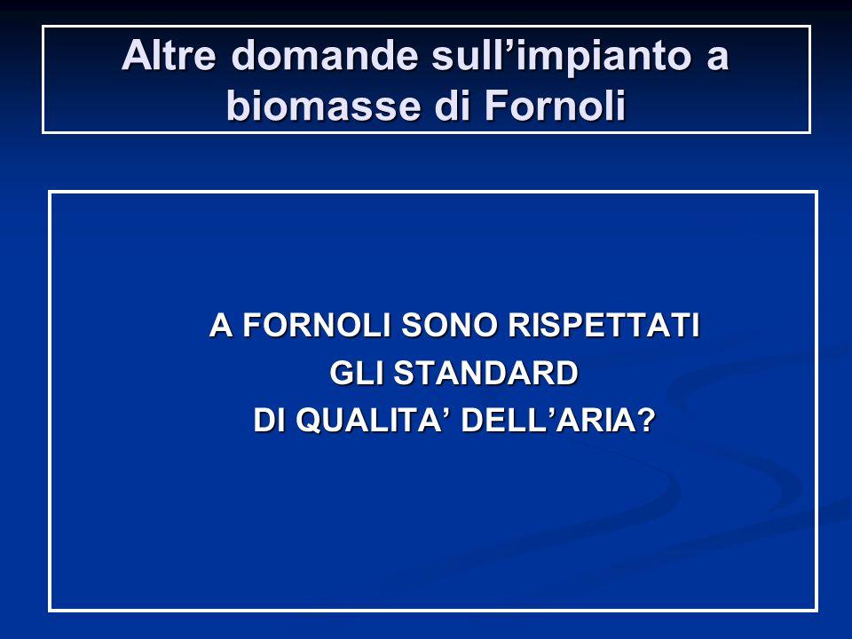 Altre domande sull'impianto a biomasse di Fornoli A FORNOLI SONO RISPETTATI GLI STANDARD DI QUALITA' DELL'ARIA?