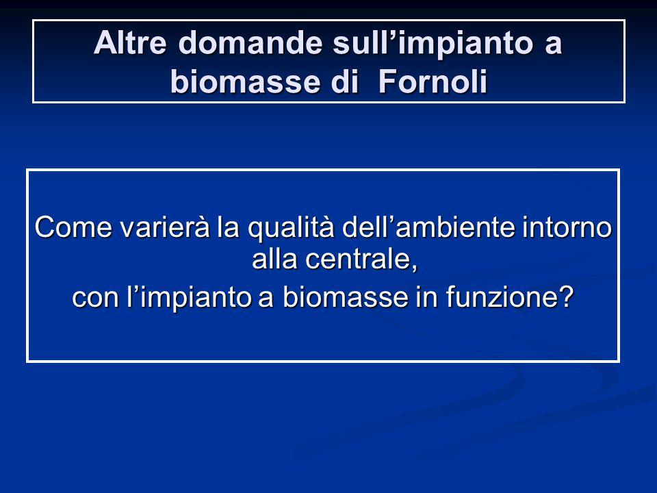 Altre domande sull'impianto a biomasse di Fornoli Come varierà la qualità dell'ambiente intorno alla centrale, con l'impianto a biomasse in funzione?