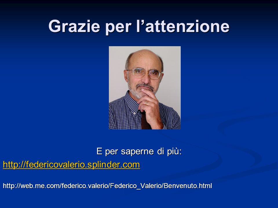 Grazie per l'attenzione E per saperne di più: http://federicovalerio.splinder.com http://web.me.com/federico.valerio/Federico_Valerio/Benvenuto.html