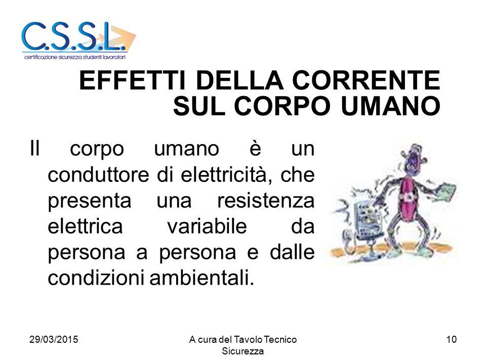 10 Il corpo umano è un conduttore di elettricità, che presenta una resistenza elettrica variabile da persona a persona e dalle condizioni ambientali.