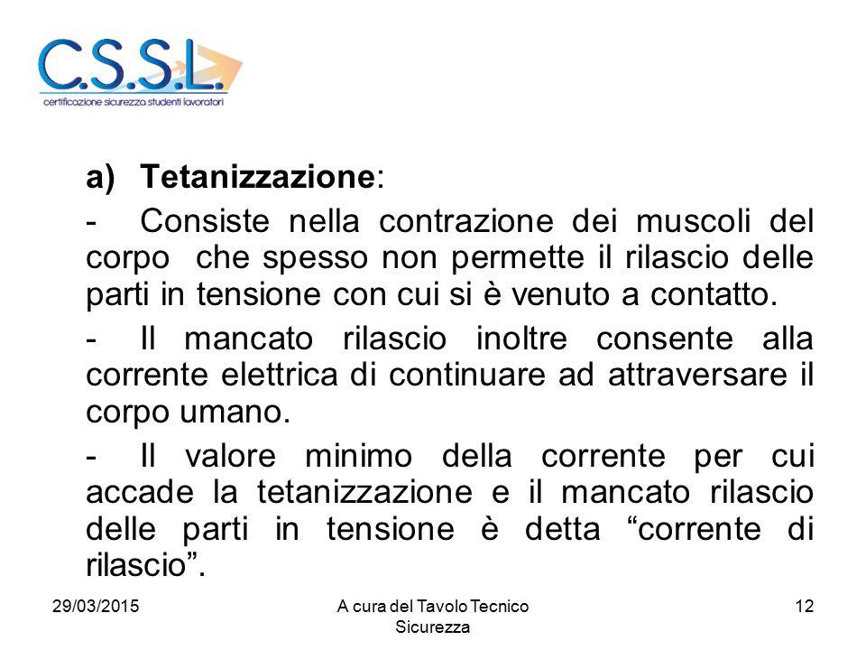 12 a)Tetanizzazione: -Consiste nella contrazione dei muscoli del corpo che spesso non permette il rilascio delle parti in tensione con cui si è venuto a contatto.