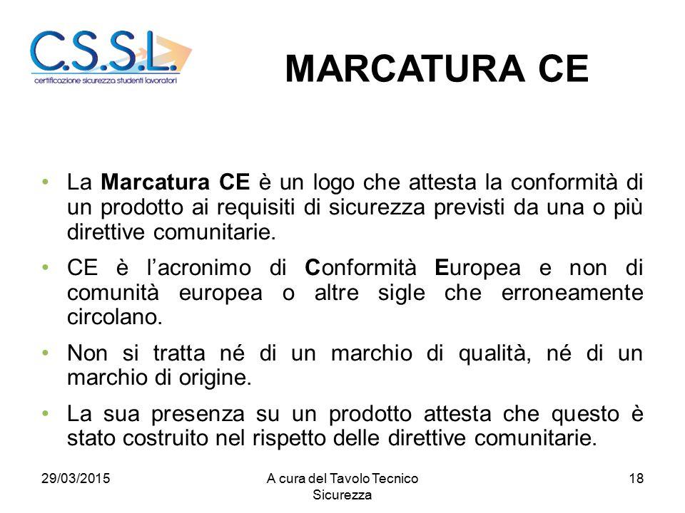 18 La Marcatura CE è un logo che attesta la conformità di un prodotto ai requisiti di sicurezza previsti da una o più direttive comunitarie. CE è l'ac