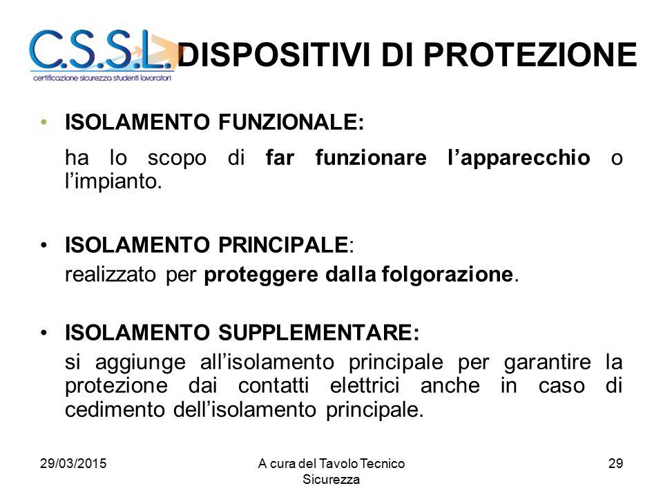 29 ISOLAMENTO FUNZIONALE: ha lo scopo di far funzionare l'apparecchio o l'impianto. ISOLAMENTO PRINCIPALE: realizzato per proteggere dalla folgorazion