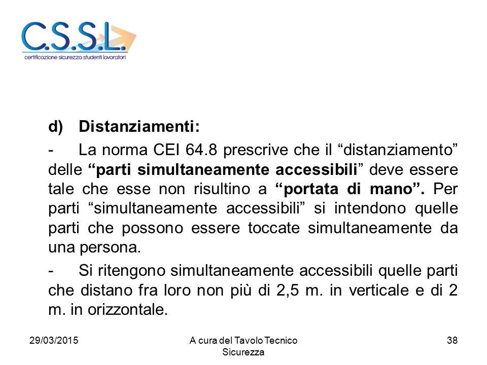 38 d)Distanziamenti: -La norma CEI 64.8 prescrive che il distanziamento delle parti simultaneamente accessibili deve essere tale che esse non risultino a portata di mano .