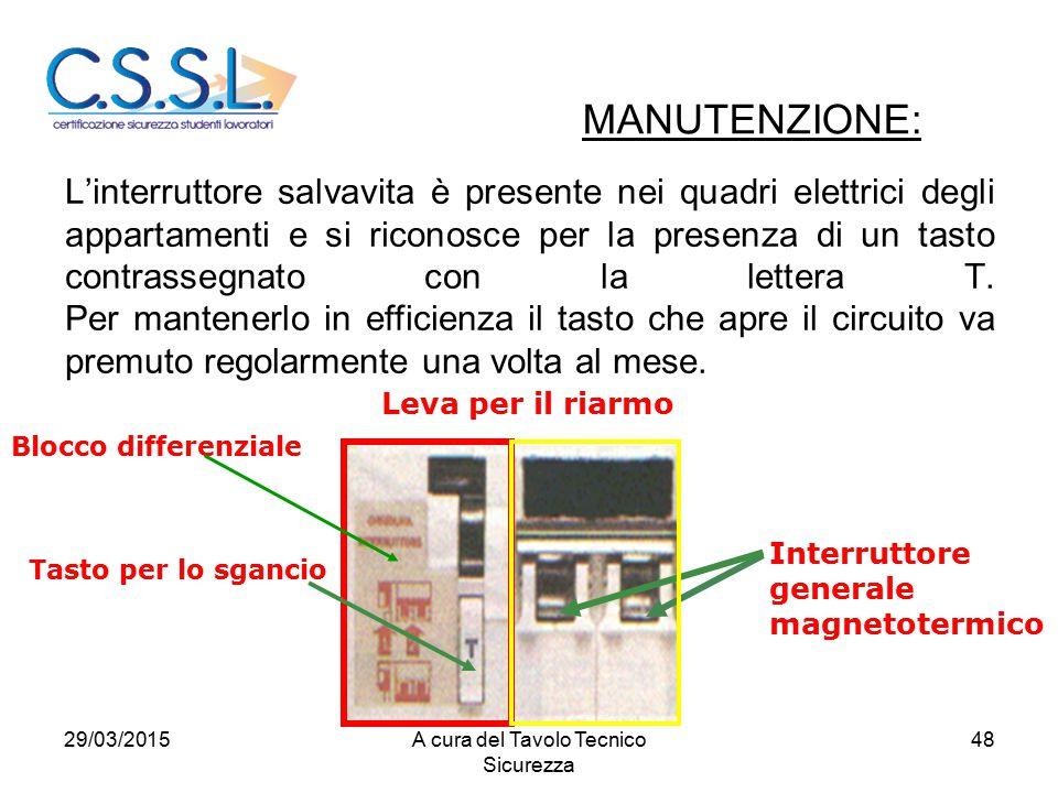 48 L'interruttore salvavita è presente nei quadri elettrici degli appartamenti e si riconosce per la presenza di un tasto contrassegnato con la letter