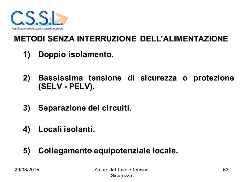 53 1)Doppio isolamento. 2)Bassissima tensione di sicurezza o protezione (SELV - PELV). 3)Separazione dei circuiti. 4)Locali isolanti. 5)Collegamento e