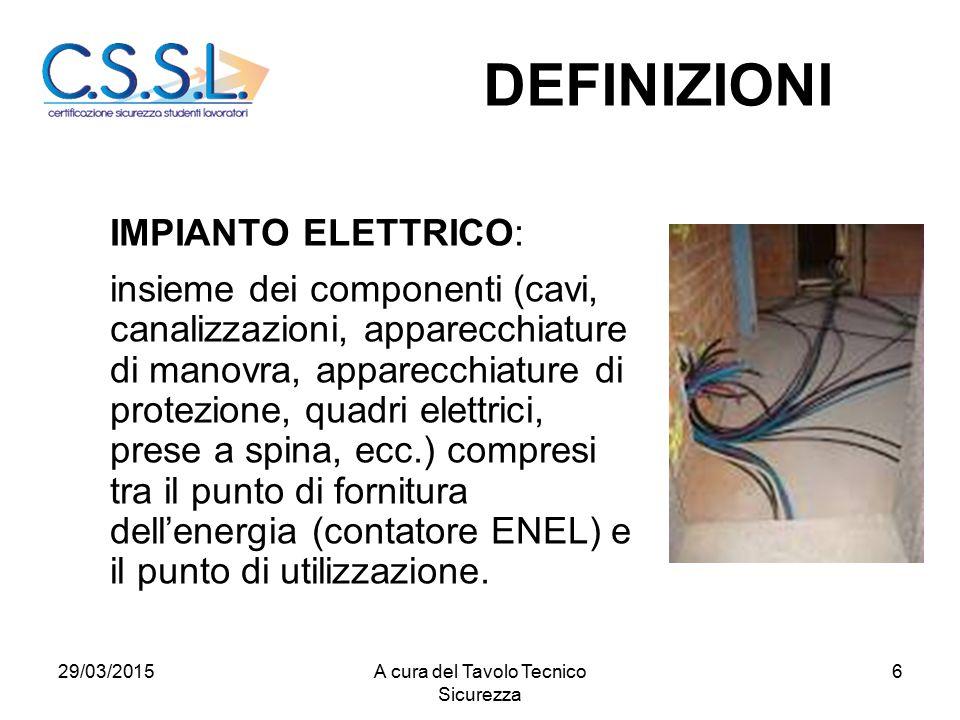 6 IMPIANTO ELETTRICO: insieme dei componenti (cavi, canalizzazioni, apparecchiature di manovra, apparecchiature di protezione, quadri elettrici, prese a spina, ecc.) compresi tra il punto di fornitura dell'energia (contatore ENEL) e il punto di utilizzazione.