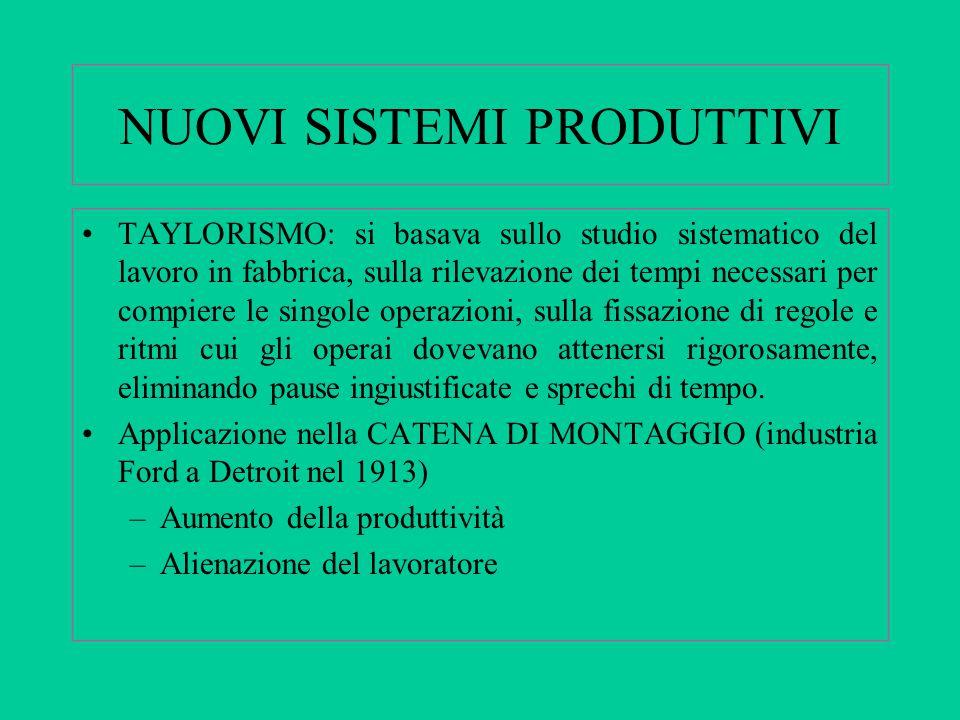 NUOVI SISTEMI PRODUTTIVI TAYLORISMO: si basava sullo studio sistematico del lavoro in fabbrica, sulla rilevazione dei tempi necessari per compiere le
