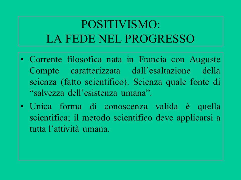 POSITIVISMO: LA FEDE NEL PROGRESSO Corrente filosofica nata in Francia con Auguste Compte caratterizzata dall'esaltazione della scienza (fatto scientifico).