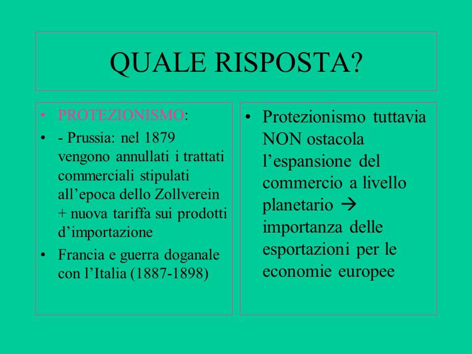 QUALE RISPOSTA? PROTEZIONISMO: - Prussia: nel 1879 vengono annullati i trattati commerciali stipulati all'epoca dello Zollverein + nuova tariffa sui p