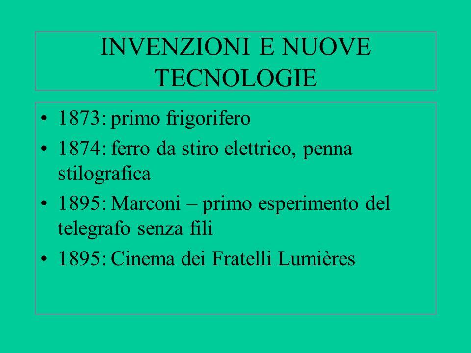 INVENZIONI E NUOVE TECNOLOGIE 1873: primo frigorifero 1874: ferro da stiro elettrico, penna stilografica 1895: Marconi – primo esperimento del telegra