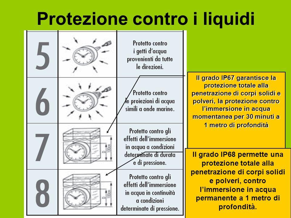 Il grado IP67 garantisce la protezione totale alla penetrazione di corpi solidi e polveri, la protezione contro l'immersione in acqua momentanea per 30 minuti a 1 metro di profondità Il grado IP68 permette una protezione totale alla penetrazione di corpi solidi e polveri, contro l'immersione in acqua permanente a 1 metro di profondità.