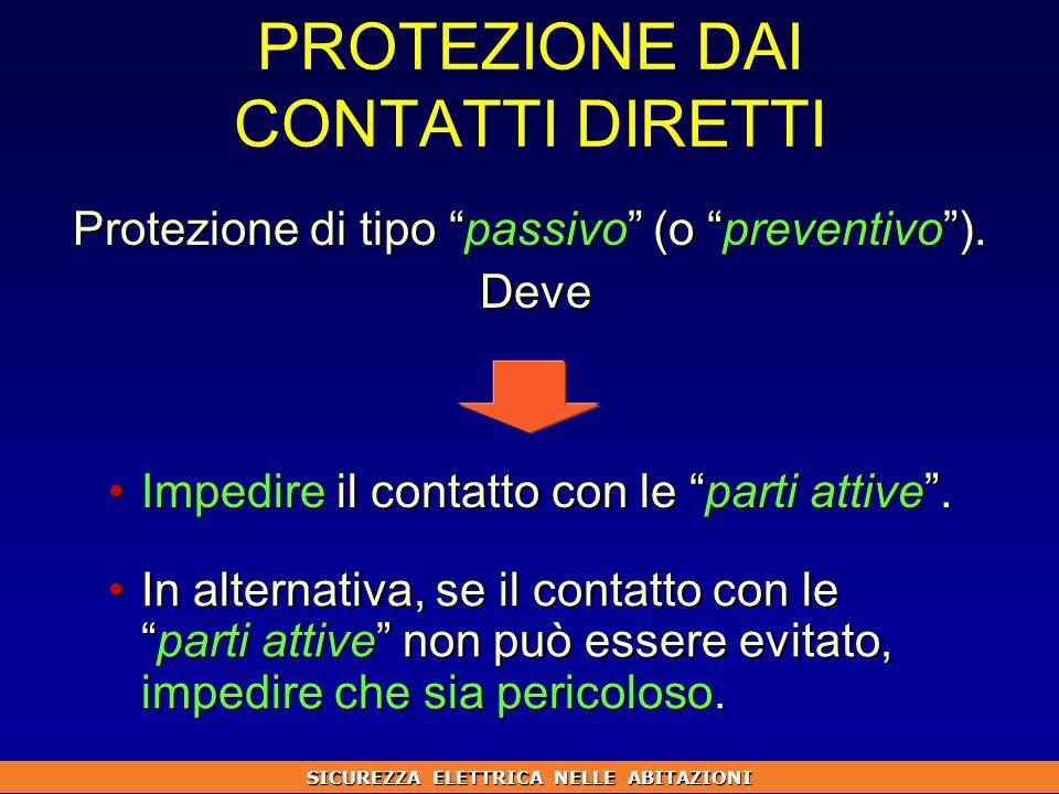 PROTEZIONE DAI CONTATTI DIRETTI Protezione di tipo passivo (o preventivo ).