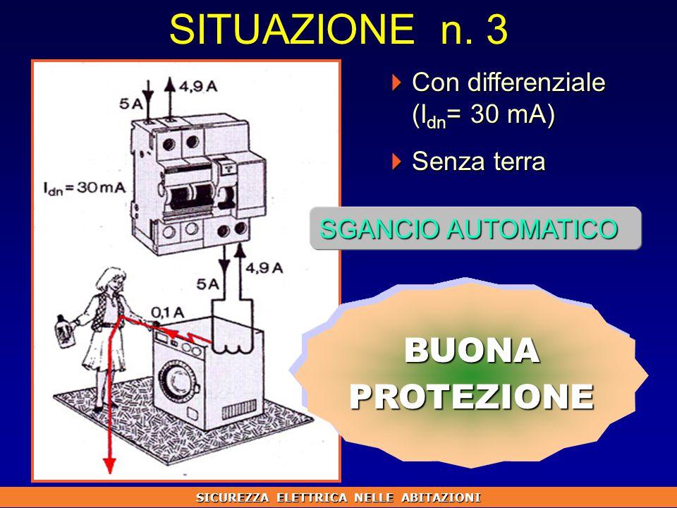  Con differenziale (I dn = 30 mA)  Senza terra SGANCIO AUTOMATICO BUONAPROTEZIONE SITUAZIONE n.