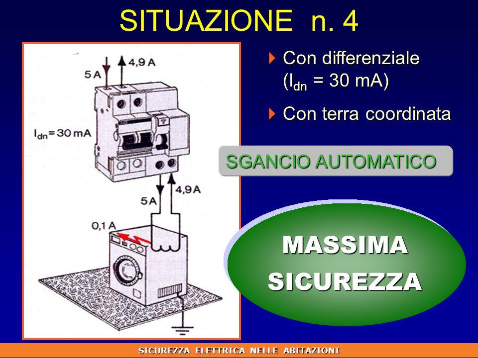  Con differenziale (I dn = 30 mA)  Con terra coordinata MASSIMASICUREZZA SITUAZIONE n.