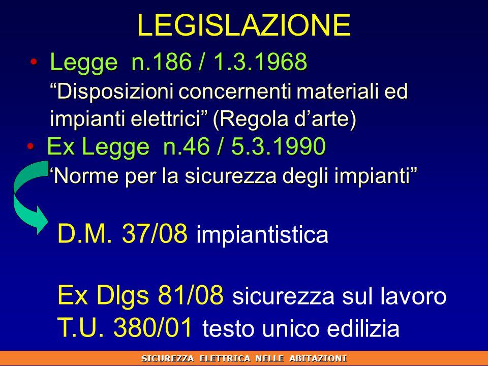 LEGISLAZIONE Legge n.186 / 1.3.1968 Disposizioni concernenti materiali ed impianti elettrici (Regola d'arte)Legge n.186 / 1.3.1968 Disposizioni concernenti materiali ed impianti elettrici (Regola d'arte) Ex Legge n.46 / 5.3.1990 Norme per la sicurezza degli impianti Ex Legge n.46 / 5.3.1990 Norme per la sicurezza degli impianti D.M.