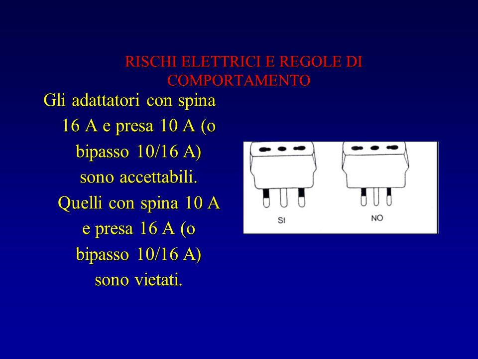 RISCHI ELETTRICI E REGOLE DI COMPORTAMENTO RISCHI ELETTRICI E REGOLE DI COMPORTAMENTO Gli adattatori con spina 16 A e presa 10 A (o bipasso 10/16 A) sono accettabili.