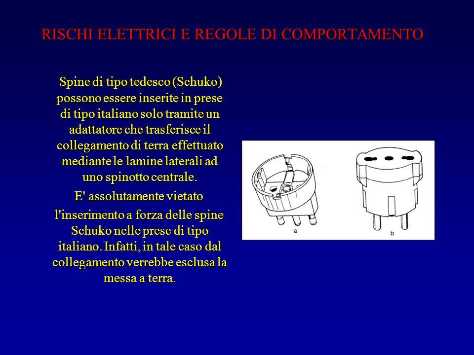 RISCHI ELETTRICI E REGOLE DI COMPORTAMENTO Spine di tipo tedesco (Schuko) possono essere inserite in prese di tipo italiano solo tramite un adattatore che trasferisce il collegamento di terra effettuato mediante le lamine laterali ad uno spinotto centrale.