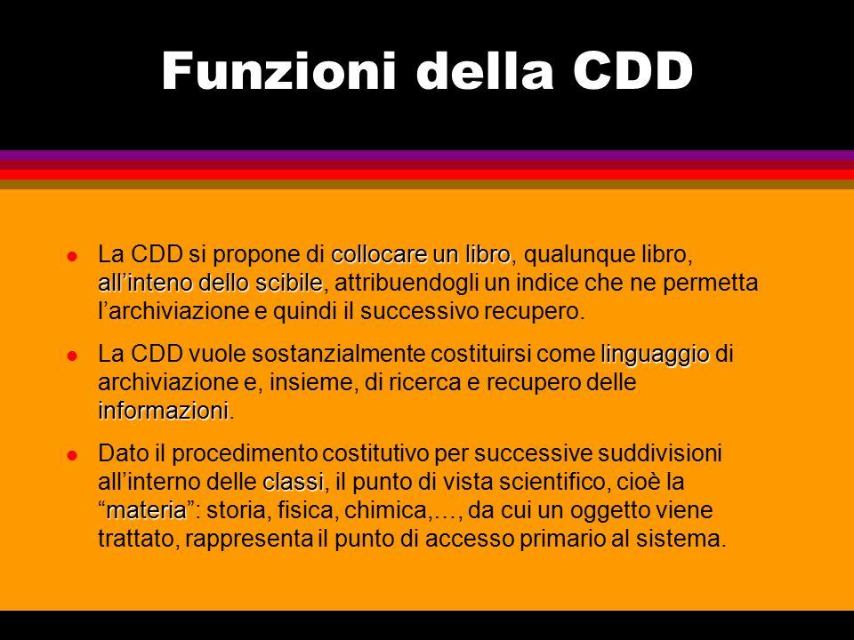 Funzioni della CDD l La CDD si propone di collocare un libro libro, qualunque libro, all'inteno dello scibile scibile, attribuendogli un indice che ne