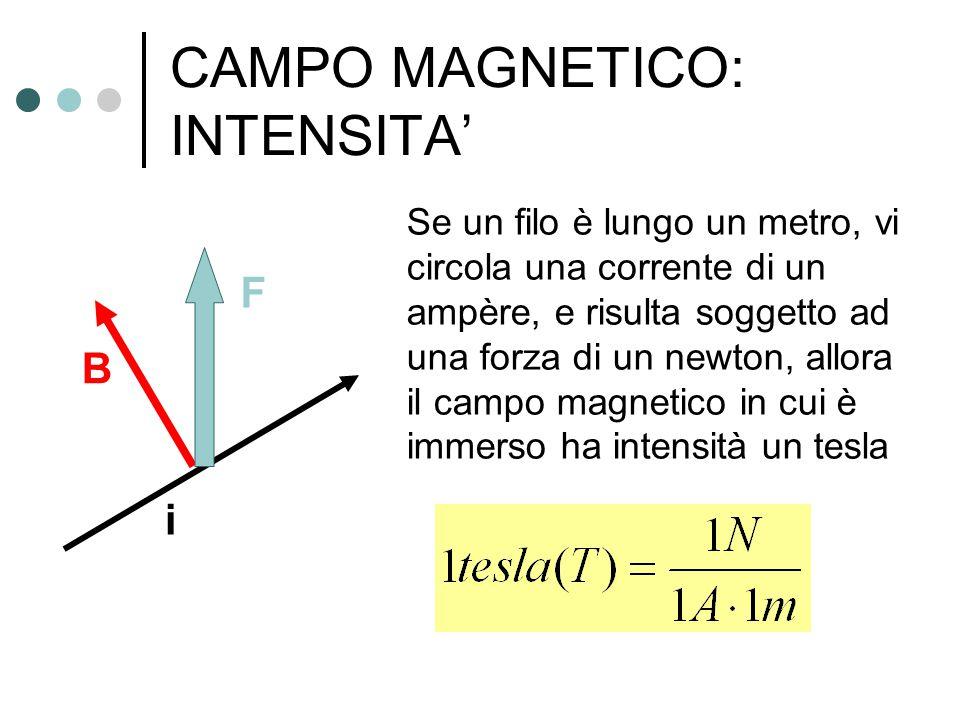 CAMPO MAGNETICO: INTENSITA' Se un filo è lungo un metro, vi circola una corrente di un ampère, e risulta soggetto ad una forza di un newton, allora il