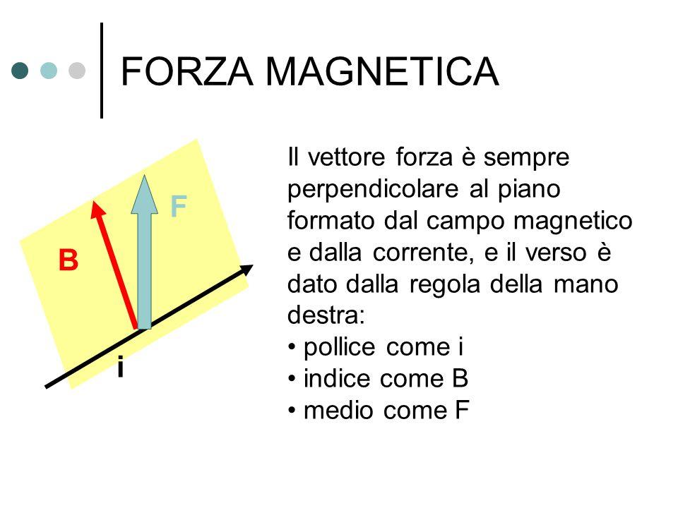 FORZA MAGNETICA Il vettore forza è sempre perpendicolare al piano formato dal campo magnetico e dalla corrente, e il verso è dato dalla regola della m