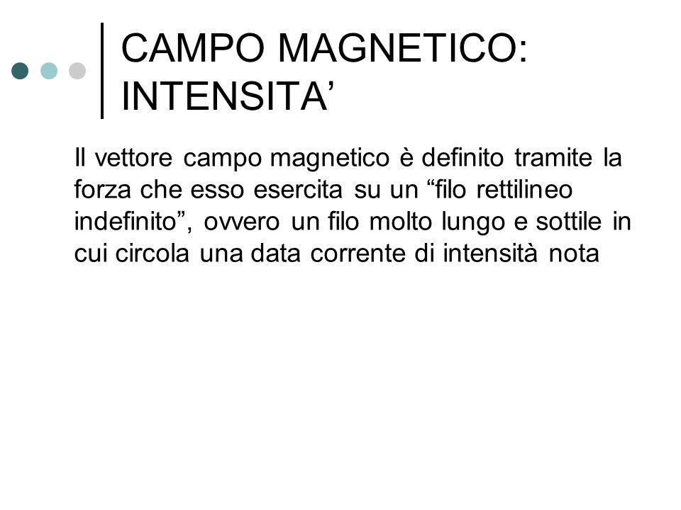 """CAMPO MAGNETICO: INTENSITA' Il vettore campo magnetico è definito tramite la forza che esso esercita su un """"filo rettilineo indefinito"""", ovvero un fil"""