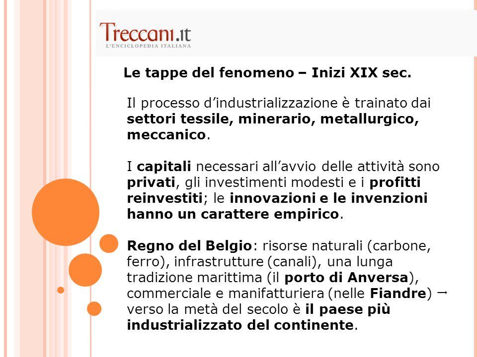 Il processo d'industrializzazione è trainato dai settori tessile, minerario, metallurgico, meccanico. I capitali necessari all'avvio delle attività so