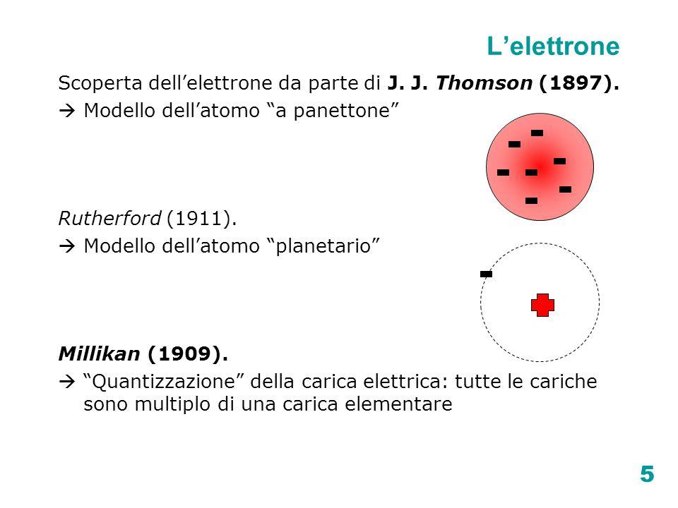 """5 Scoperta dell'elettrone da parte di J. J. Thomson (1897).  Modello dell'atomo """"a panettone"""" Rutherford (1911).  Modello dell'atomo """"planetario"""" Mi"""