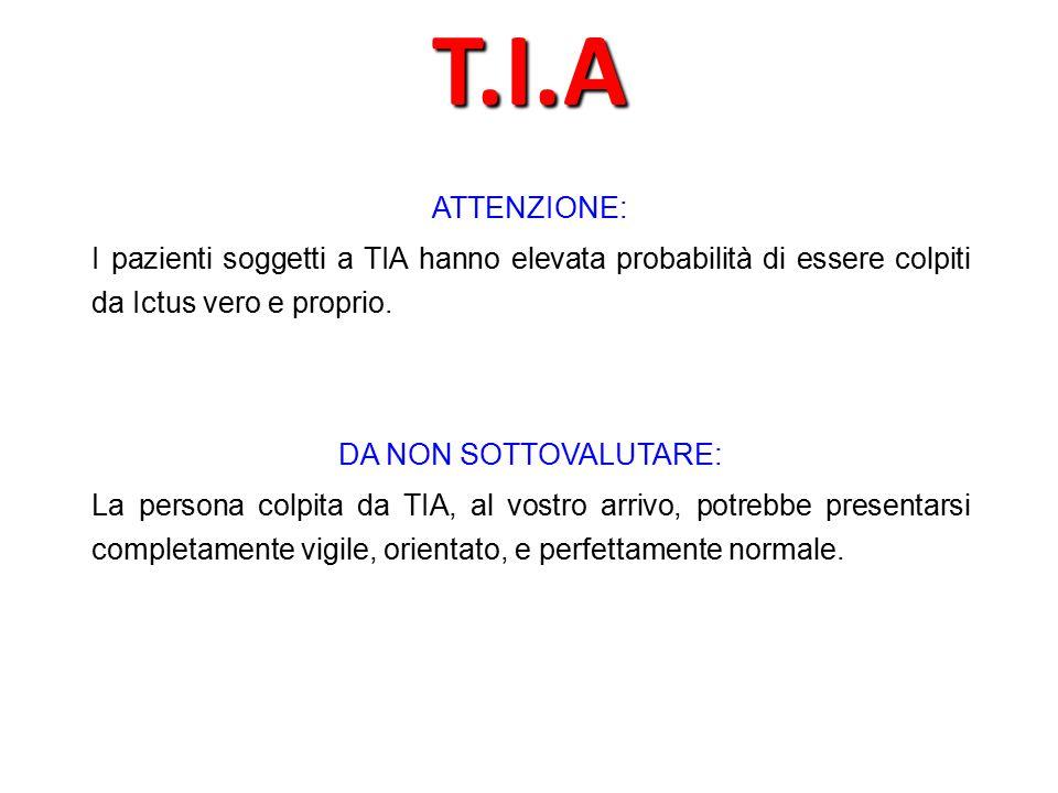 ATTENZIONE: I pazienti soggetti a TIA hanno elevata probabilità di essere colpiti da Ictus vero e proprio.