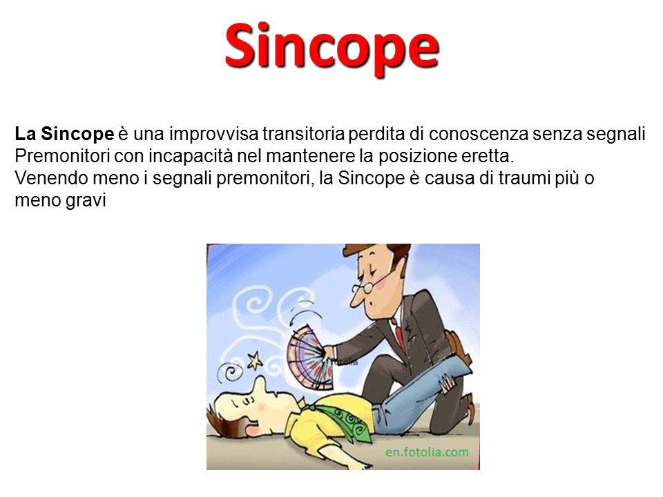 La Sincope è una improvvisa transitoria perdita di conoscenza senza segnali Premonitori con incapacità nel mantenere la posizione eretta. Venendo meno