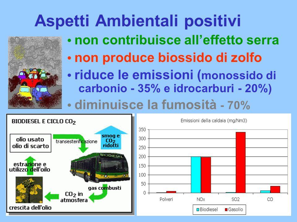 Aspetti Ambientali positivi non contribuisce all'effetto serra non produce biossido di zolfo riduce le emissioni ( monossido di carbonio - 35% e idrocarburi - 20%) diminuisce la fumosità - 70%