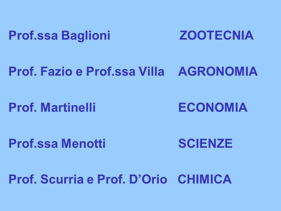 Prof.ssa Baglioni ZOOTECNIA Prof.Fazio e Prof.ssa Villa AGRONOMIA Prof.