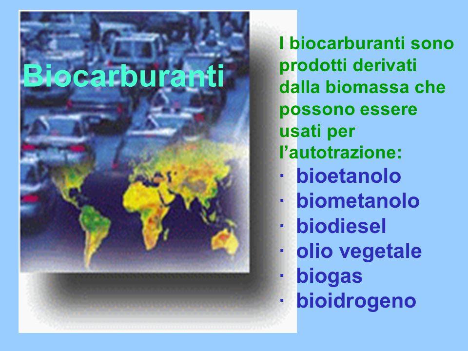 Biocarburanti I biocarburanti sono prodotti derivati dalla biomassa che possono essere usati per l'autotrazione: · bioetanolo · biometanolo · biodiesel · olio vegetale · biogas · bioidrogeno