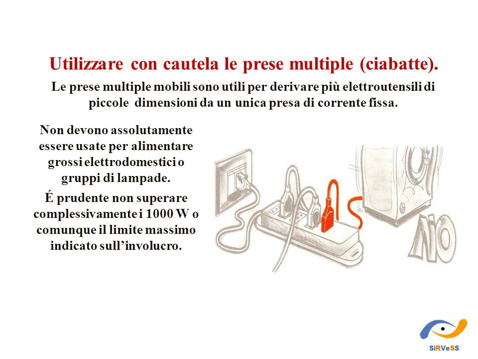 Utilizzare con cautela le prese multiple (ciabatte). Le prese multiple mobili sono utili per derivare più elettroutensili di piccole dimensioni da un