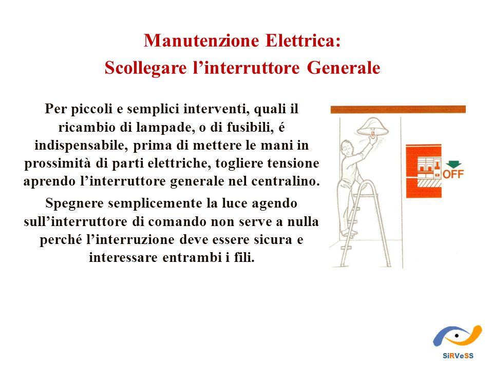 Manutenzione Elettrica: Scollegare l'interruttore Generale Per piccoli e semplici interventi, quali il ricambio di lampade, o di fusibili, é indispens