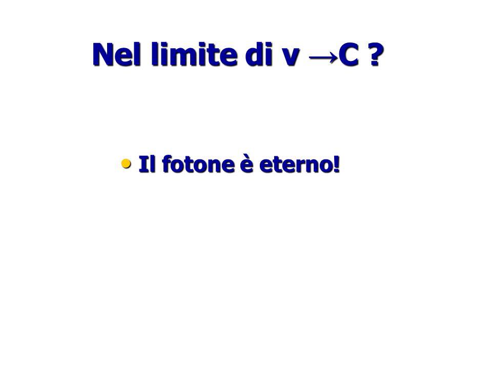 Nel limite di v → C ? Il fotone è eterno! Il fotone è eterno!