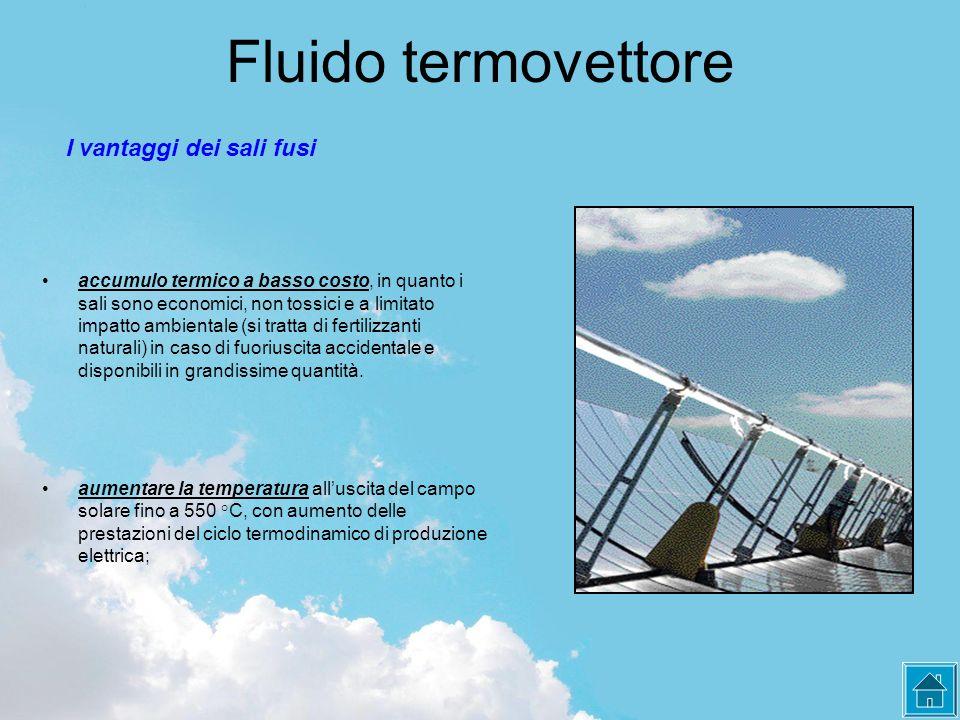 Fluido termovettore I vantaggi dei sali fusi aumentare la temperatura all'uscita del campo solare fino a 550 °C, con aumento delle prestazioni del cic