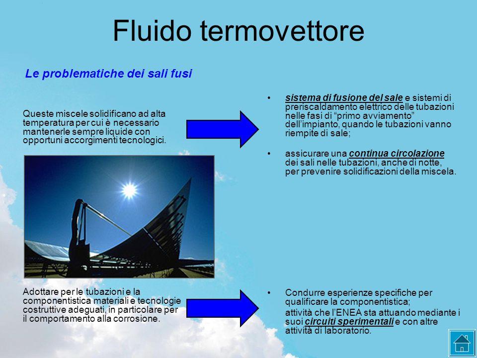 Fluido termovettore Adottare per le tubazioni e la componentistica materiali e tecnologie costruttive adeguati, in particolare per il comportamento alla corrosione.