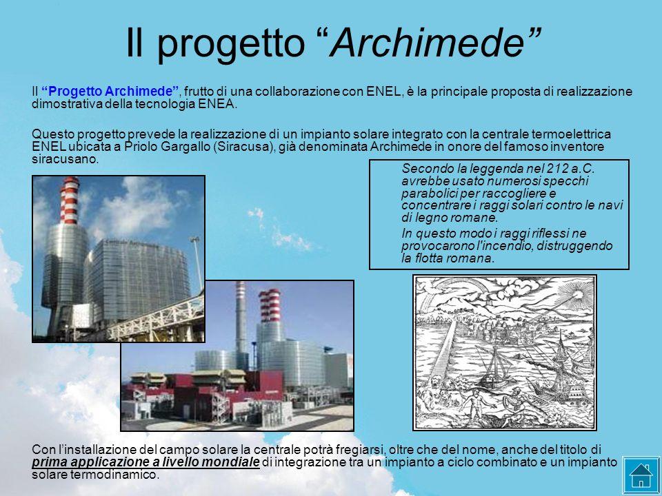 Il progetto Archimede Il Progetto Archimede , frutto di una collaborazione con ENEL, è la principale proposta di realizzazione dimostrativa della tecnologia ENEA.